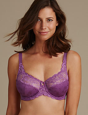 Floral Jacquard Lace Underwired Full Cup Bra DD-H, LIGHT MAGENTA, catlanding