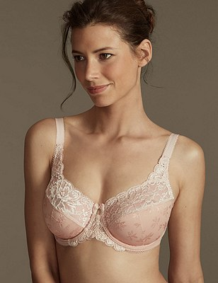 Floral Jacquard Underwired Full Cup Bra DD-H, NATURAL, catlanding