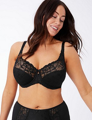 Floral Jacquard Underwired Full Cup Bra DD-H, BLACK, catlanding