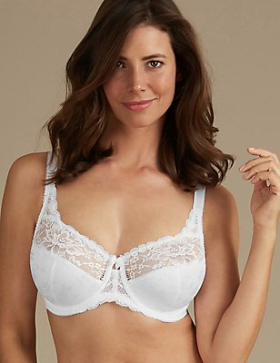 Floral Jacquard Lace Underwired Full Cup Bra DD-H, WHITE, catlanding