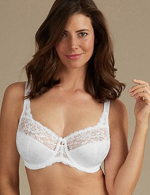 Floral Jacquard Underwired Full Cup Bra DD-H, WHITE, catlanding