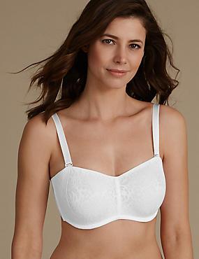 Lace Minimiser Non-Padded Bandeau Bra DD-GG, WHITE, catlanding