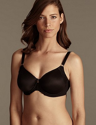 Smoothing Fleur Lace Underwired Non-Padded Full Cup Bra DD-G, BLACK, catlanding