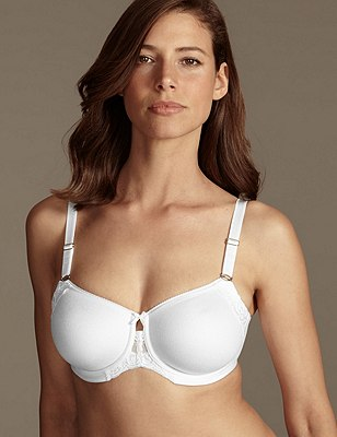 Smoothing Fleur Lace Underwired Non-Padded Full Cup Bra DD-G, WHITE, catlanding