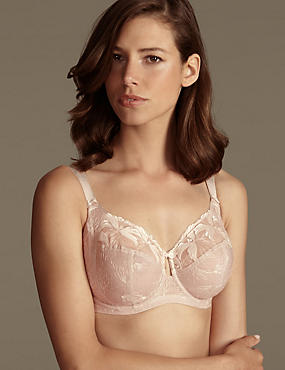 Underwired Maximum Support Hibiscus Embroidered Full Cup Bra, ALMOND, catlanding