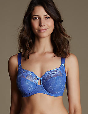 Underwired Maximum Support Hibiscus Embroidered Full Cup Bra, BRIGHT BLUE, catlanding