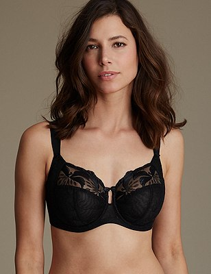 Underwired Maximum Support Hibiscus Embroidered Full Cup Bra, BLACK, catlanding