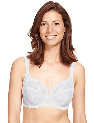 Underwired Maximum Support Hibiscus Embroidered Full Cup Bra, WHITE, catlanding
