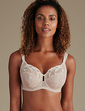 Maximum Support Hibiscus Embroidered Underwired Full Cup Bra DD-H, ALMOND, catlanding