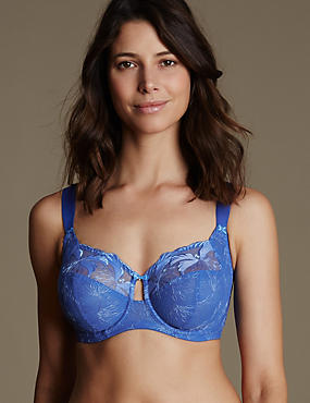 Maximum Support Hibiscus Embroidered Underwired Full Cup Bra DD-H, BRIGHT BLUE, catlanding