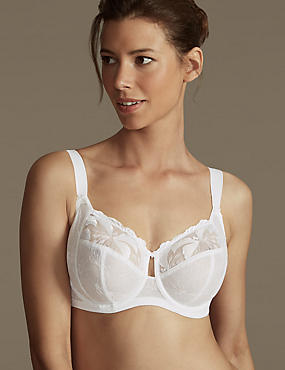 Maximum Support Hibiscus Embroidered Underwired Full Cup Bra DD-H, WHITE, catlanding