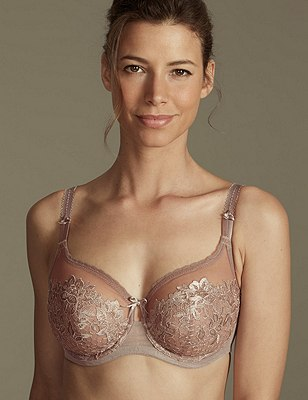 Underwired Non-Padded Embroidered Placement Full Cup Bra DD-G, PRALINE, catlanding