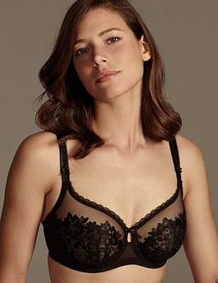 Underwired Non-Padded Embroidered Placement Full Cup Bra DD-G, BLACK, catlanding