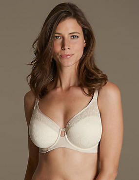 Youthful Lift™ Lace Non Padded Full Cup Bra DD-H, ALMOND MIX, catlanding