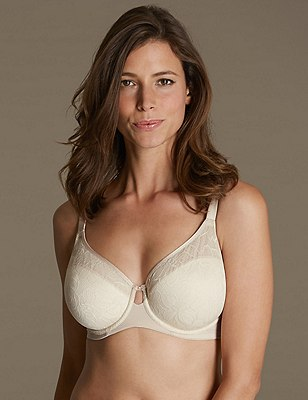 Youthful Lift™ Floral Lace Non-Padded Full Cup Bra DD-H, ALMOND MIX, catlanding