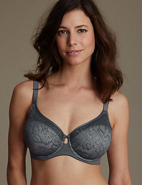 Youthful Lift™ Lace Non-Padded Full Cup Bra DD-H, GRAPHITE, catlanding