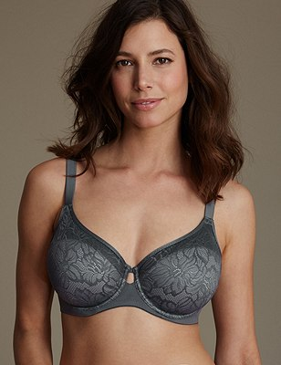 Youthful Lift™ Floral Lace Non-Padded Full Cup Bra DD-H, GRAPHITE, catlanding