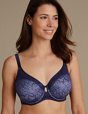Youthful Lift™ Lace Non-Padded Full Cup Bra DD-H, INDIGO, catlanding