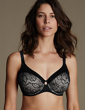 Youthful Lift™ Lace Non Padded Full Cup Bra DD-H, BLACK MIX, catlanding