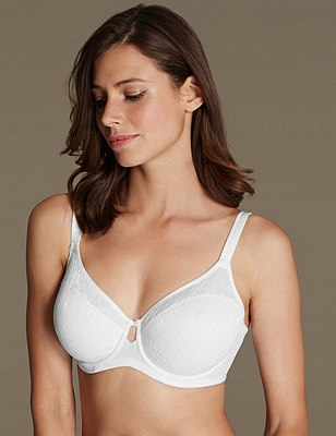 Youthful Lift™ Floral Lace Non-Padded Full Cup Bra DD-H, WHITE, catlanding
