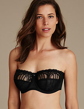 Luxury Embroidered Non-Padded Strapless Bra DD-G, BLACK, catlanding