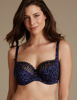 Embroidered Non-Padded Balcony Bra DD-G, INDIGO MIX, catlanding
