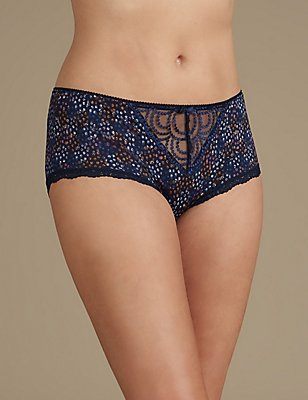 Embroidered High Rise Shorts, MIDNIGHT NAVY, catlanding