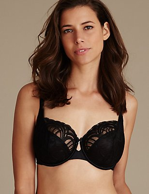 Luxury Embroidered Non-Padded Wired Full Cup Bra DD-H, BLACK, catlanding