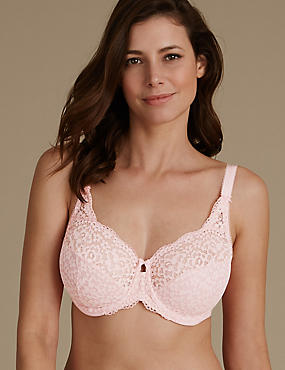 Vintage Lace Non Padded Full Cup Bra DD-H, SOFT CORAL, catlanding