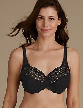 Vintage Lace Non Padded Full Cup Bra DD-H, BLACK, catlanding