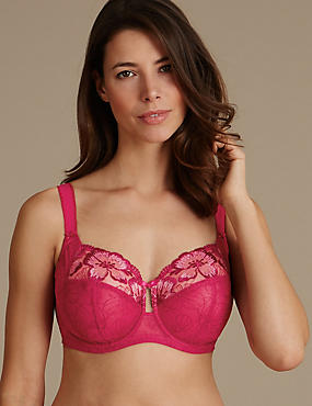 Embroidered Non-Padded Full Cup Bra DD-H, CRIMSON, catlanding
