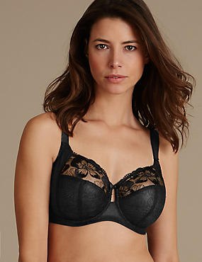 Embroidered Non-Padded Full Cup Bra DD-H, BLACK, catlanding