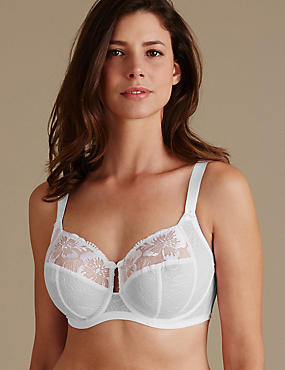 Embroidered Non-Padded Full Cup Bra DD-H, WHITE, catlanding
