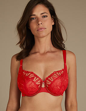 Embroidered Non-Padded Balcony Bra DD-H, ROUGE, catlanding
