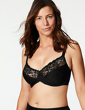 Floral Jacquard Lace Underwired Full Cup Bra C-GG, BLACK, catlanding