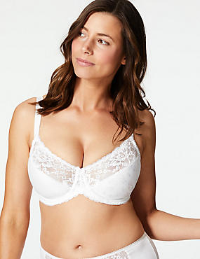 Floral Jacquard Lace Underwired Full Cup Bra C-GG, WHITE, catlanding