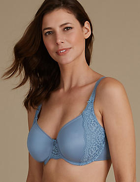 Vintage Lace Minimiser Non Padded Full Cup Bra C-GG, SMOKEY BLUE, catlanding
