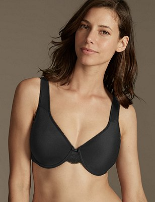 Smoothing Back Lace Wing Full Cup Bra C-G, BLACK, catlanding