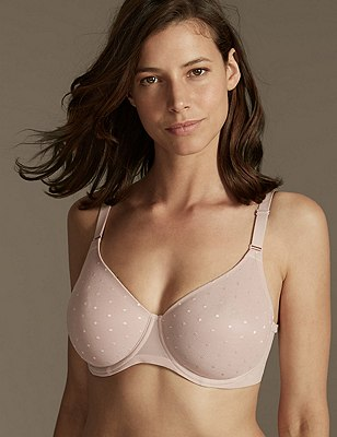 Smoothing Lace Back Non-Padded Underwired Minimiser Full Cup Bra C-G, ALMOND, catlanding