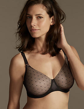 Smoothlines™  Lace Back Non Padded Underwired Minimiser Full Cup Bra C-G, BLACK MIX, catlanding