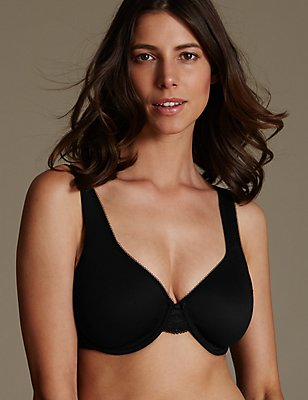 Smoothing Floral Lace Wing Minimiser Full Cup Bra C-G, BLACK, catlanding