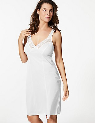 Floral Lace Trim Full Slip, WHITE, catlanding