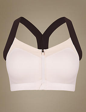 High Impact Zip Front Padded Sports Bra B-E