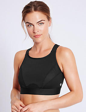 Extra High Impact High Neck Sports Bra A-G, BLACK, catlanding
