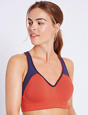 High Impact Breathable Underwired Sports Bra A-DD, FLAME, catlanding