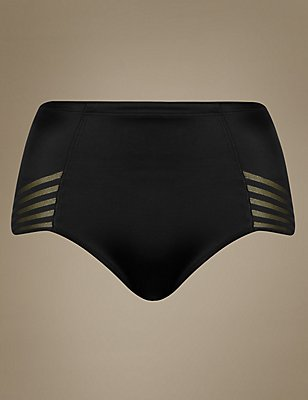 Firm Control No VPL High Leg Knickers, BLACK, catlanding