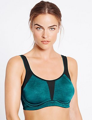 High Impact Non-Padded Underwired Full Cup Bra A-G, DARK TURQUOISE, catlanding