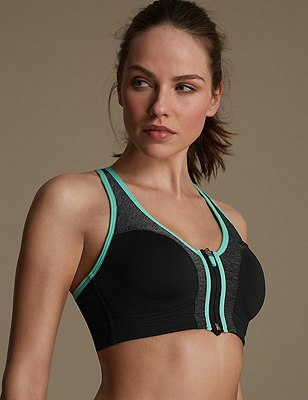 Extra High Impact Non-Wired Full Cup Sports Bra B-G, GREY MARL, catlanding