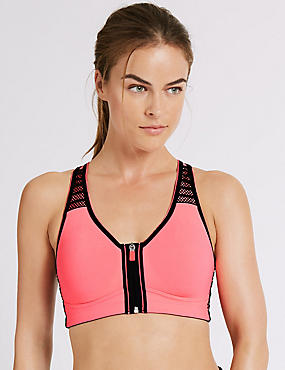 Extra High Impact Zip Front Sports Bra A-G, NEON PINK, catlanding