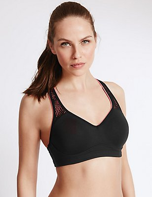 Breathable High Impact Underwired Padded Sports Bra A-DD, , catlanding